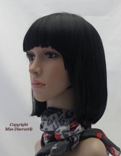 Classic Bob Style Full Head Wig in Glossy Raven black